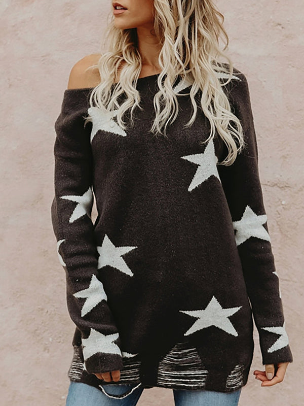 Long Sleeve Black Knitted Intarsia Casual Ripped Sweater