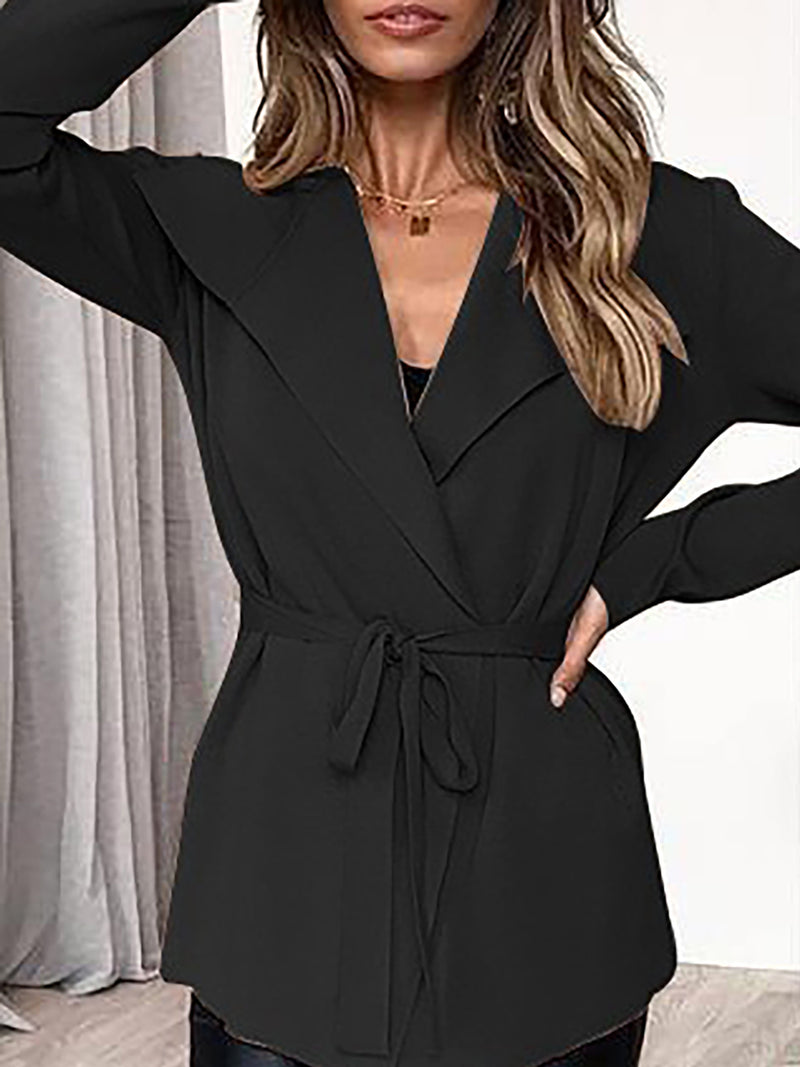 Black  Long Sleeve Shawl Collar Casual Shift Solid Coat