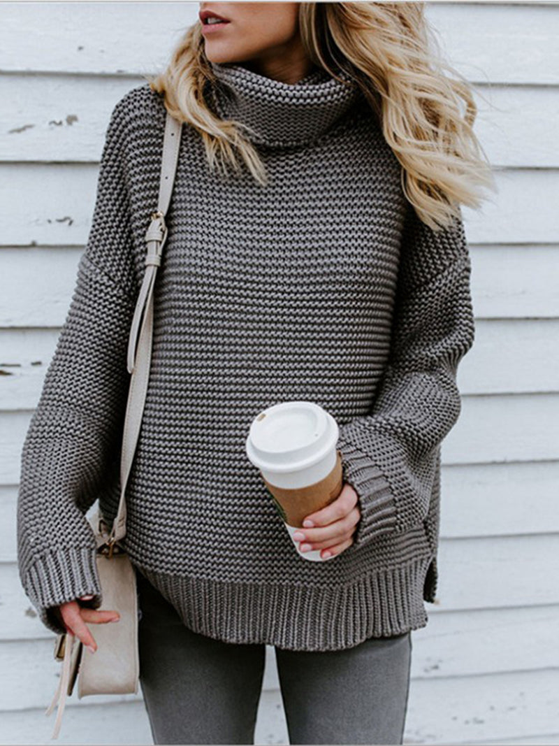 Long Sleeve Casual Turtle Neck Solid Knitted Sweater