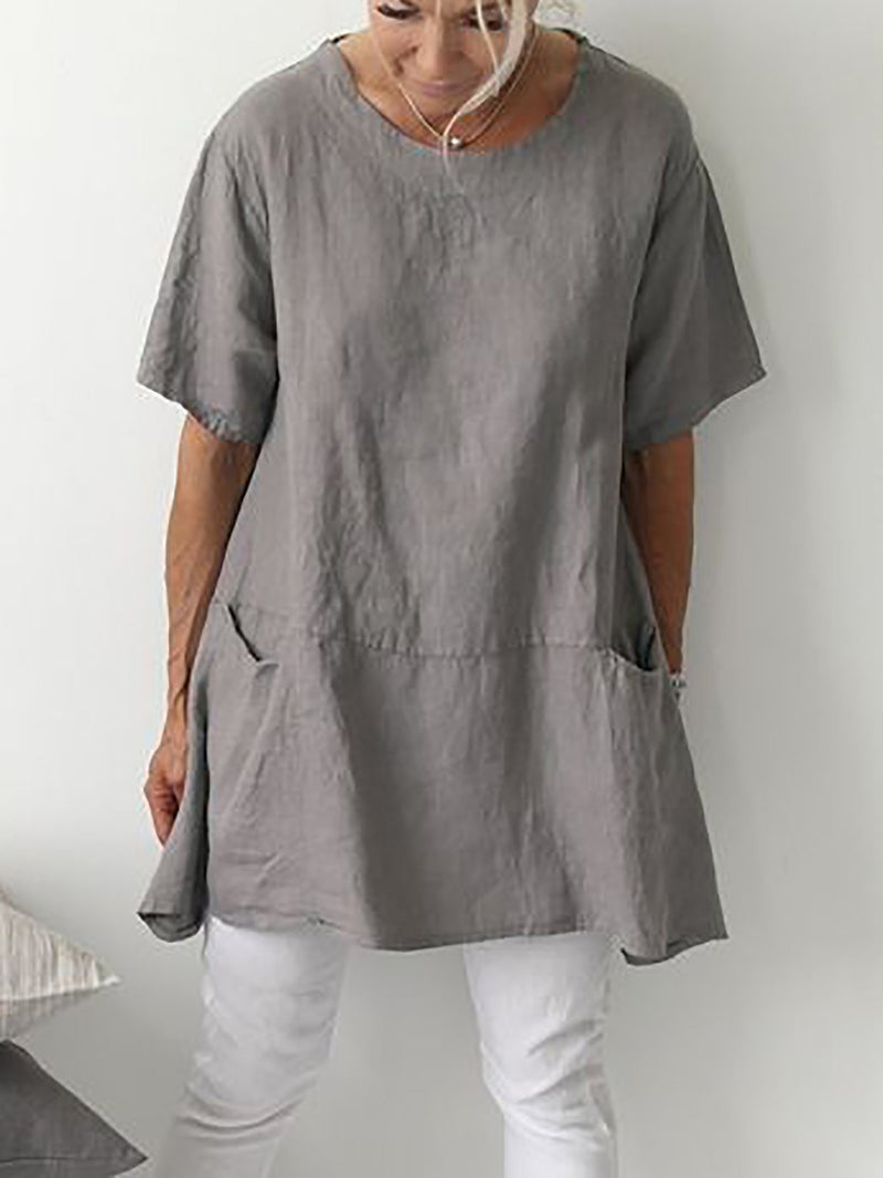 Short Sleeve Casual Pockets Cotton Tops