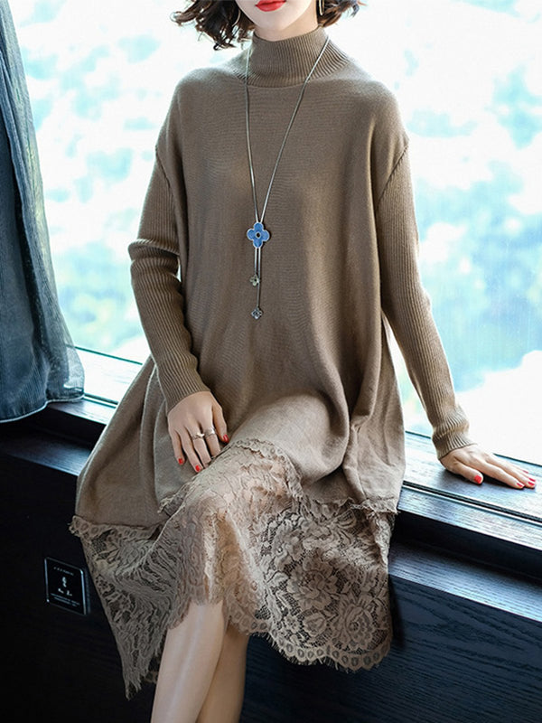 Casual Turtleneck Solid Long Sleeve Paneled Lace Dress