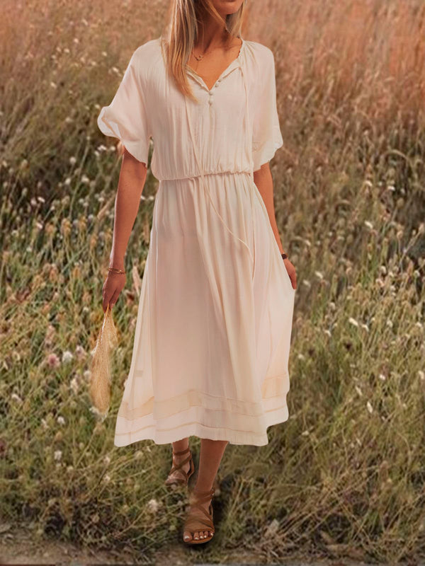 Women Summer Sweet Holiday Beige Frill Sleeve Swing Maxi Dress