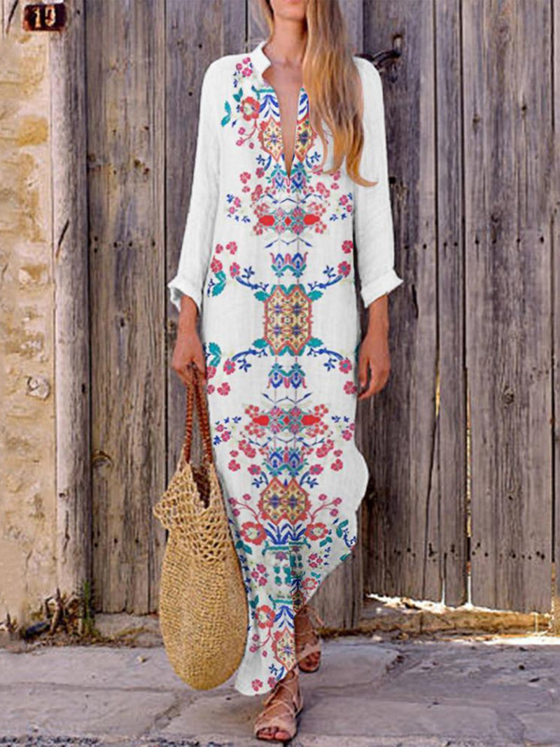 White Long Sleeve Printed Dress