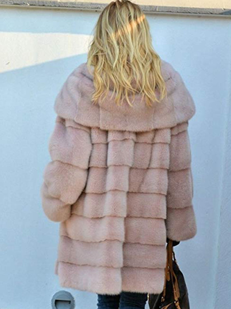 Casual Long Sleeve Hoodie Faux fur Coat