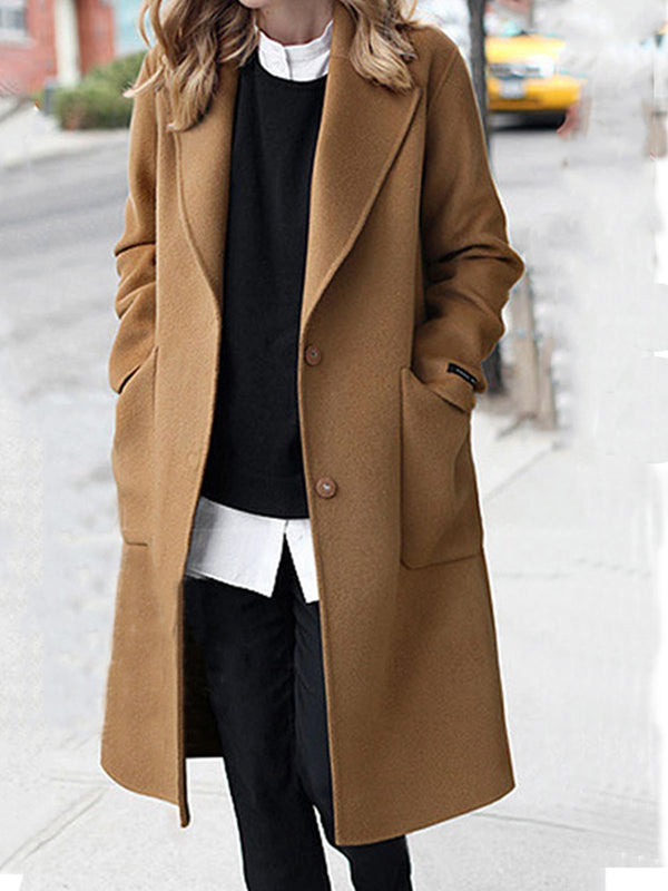 Plus Size Solid Casual Pockets Long Sleeve Coat