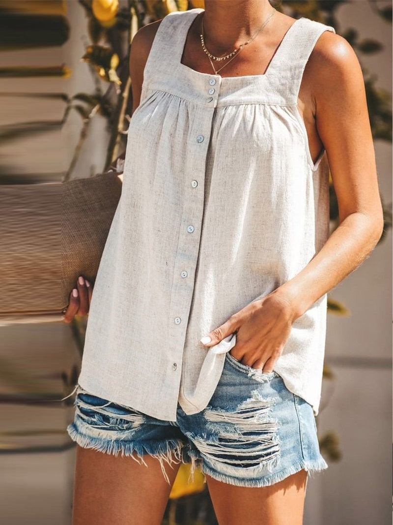 Summer Buttoned Pleated Square Neck Sleeveless Tank