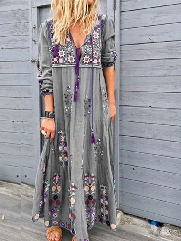 Women Summer Casual Cotton-Blend Patchwork Long Sleeve V Neck Maxi Dress