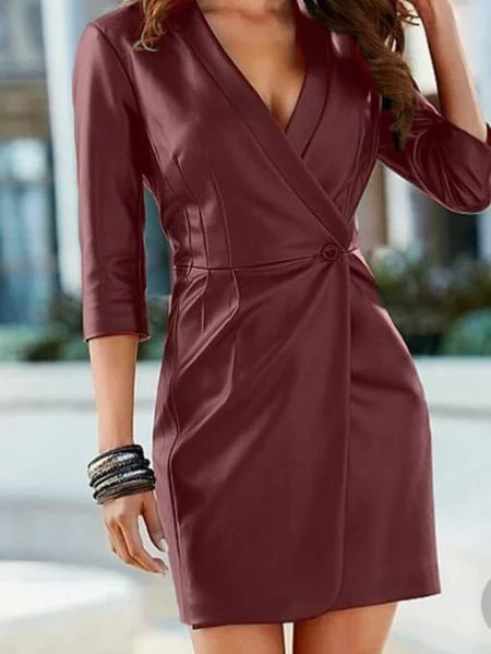 Faux Leather Dress Long Sleeve