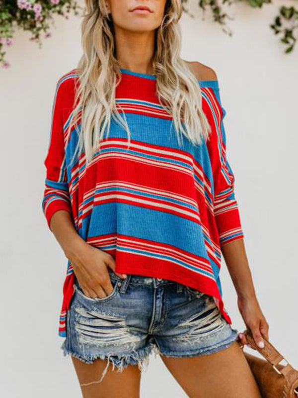 Red-Blue Casual Round Neck Knitted Tops