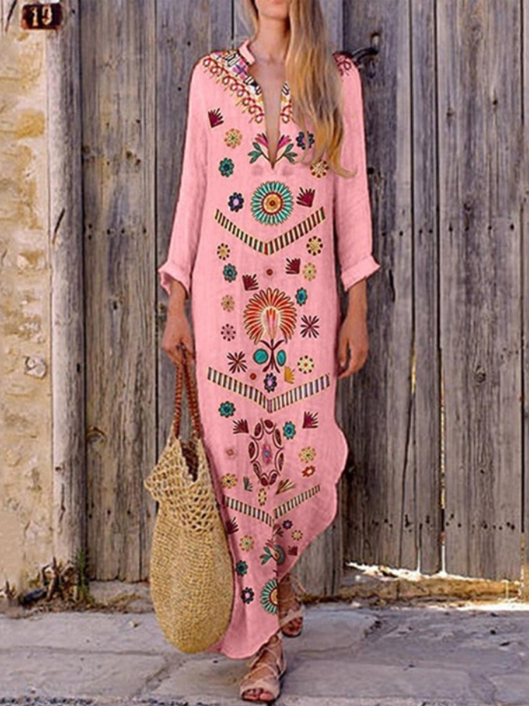 Women Summer Sweet Vintage Boho Floral V Neck Long Sleeve Maxi Dress