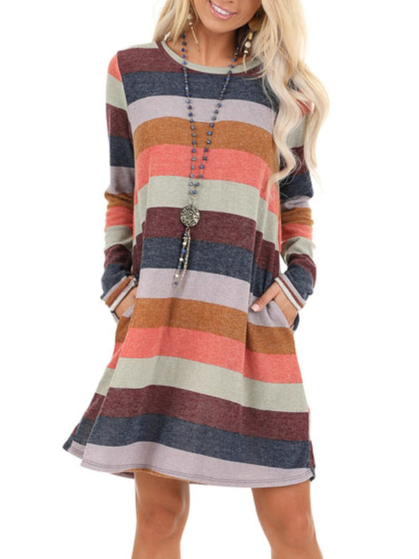 Plus Size Crew Neck Casual Long Sleeve Dresses