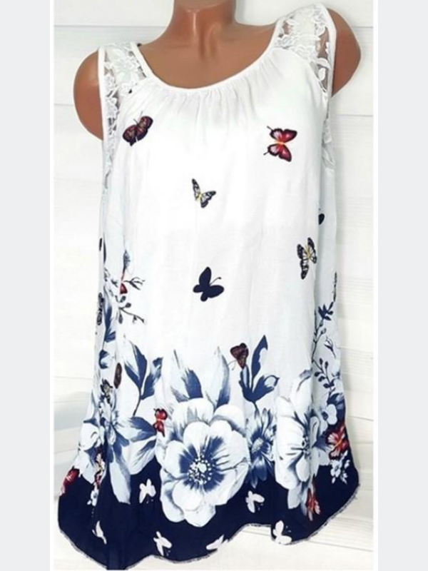 Sleeveless Floral-Print Cotton Shirts & Tops