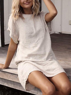 Summer Linen Midi Dress Plus Size Casual Solid Short Sleeve Dresses