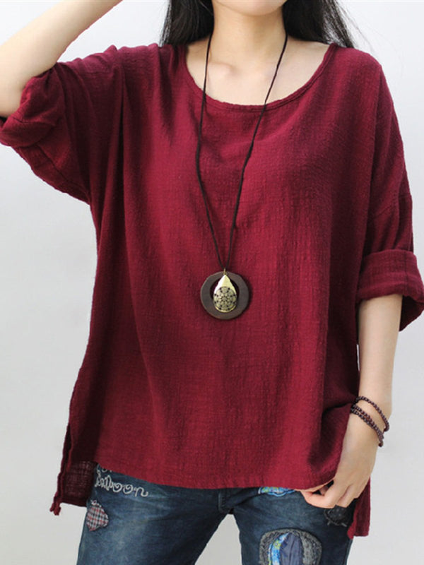 Plus Size High Low Long Sleeve Solid Casual Crew Neck Linen T-Shirt