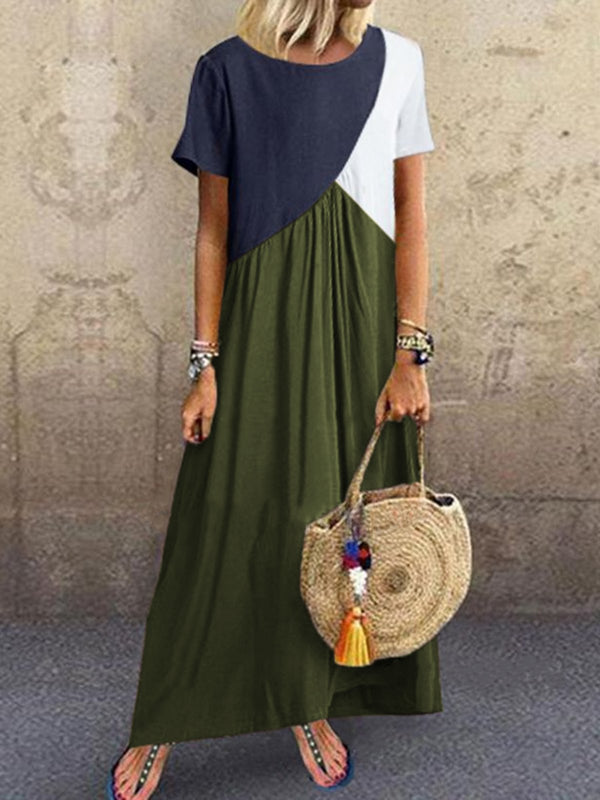 Women Summer Linen Maxi Dress Plus Size Crew Neck Brown Dress