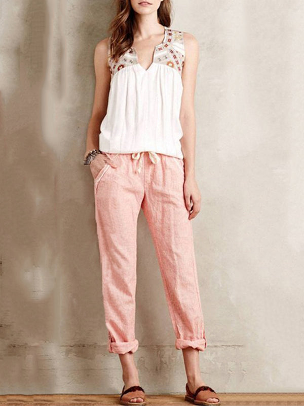 Plus Size Casual Pockets Linen Pants