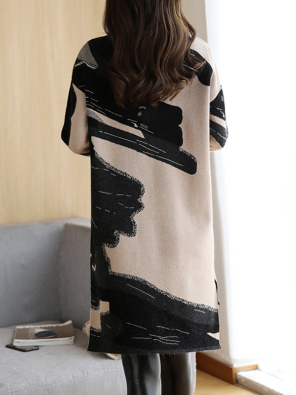 Plus Size Abstract Crew Neck Long Sleeve Dress