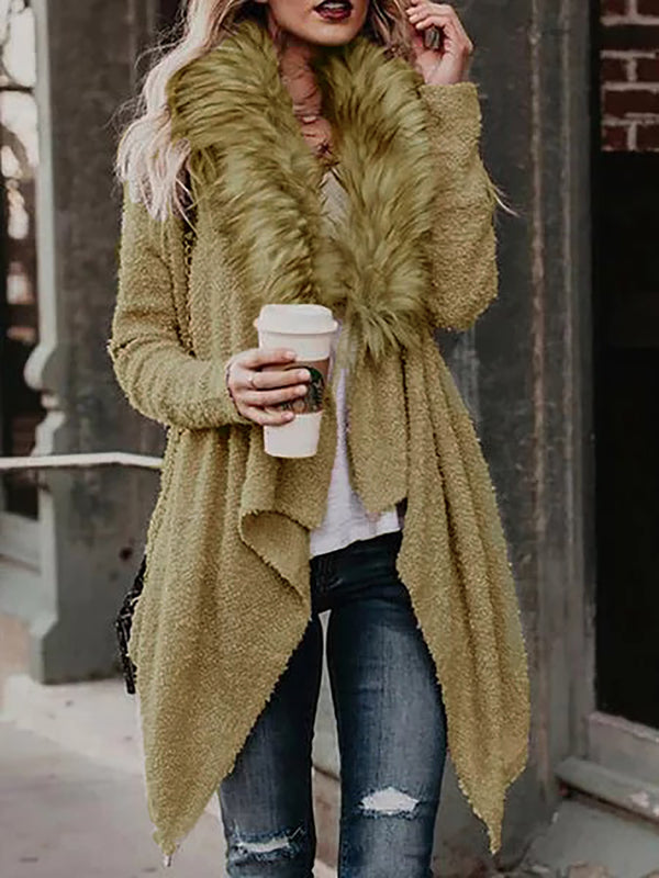 Long Sleeve Shift Casual Fluffy Paneled Knitted Cardigan