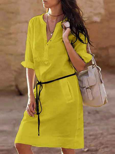 White Stand Collar V-Neck Casual Solid Dress With Belt