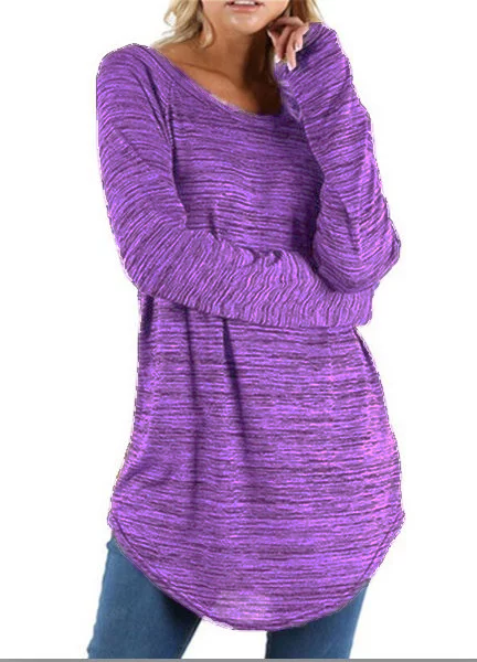 Plus Size Crew Neck Long Sleeve Casual T-Shirt
