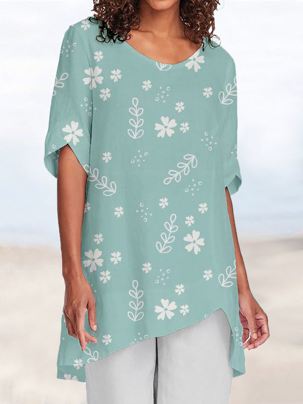 Floral Basic Round Neck Short Sleeve Shirts & Tops