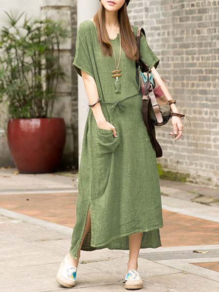 Crew Neck Short Sleeve High Low Dress