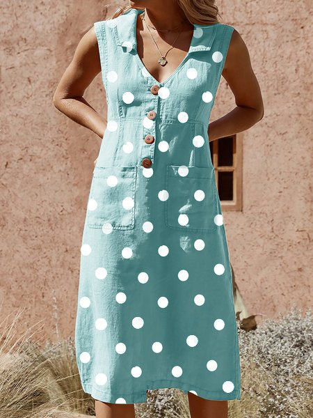 Elegant Buttoned Pockets Plus Size Dress
