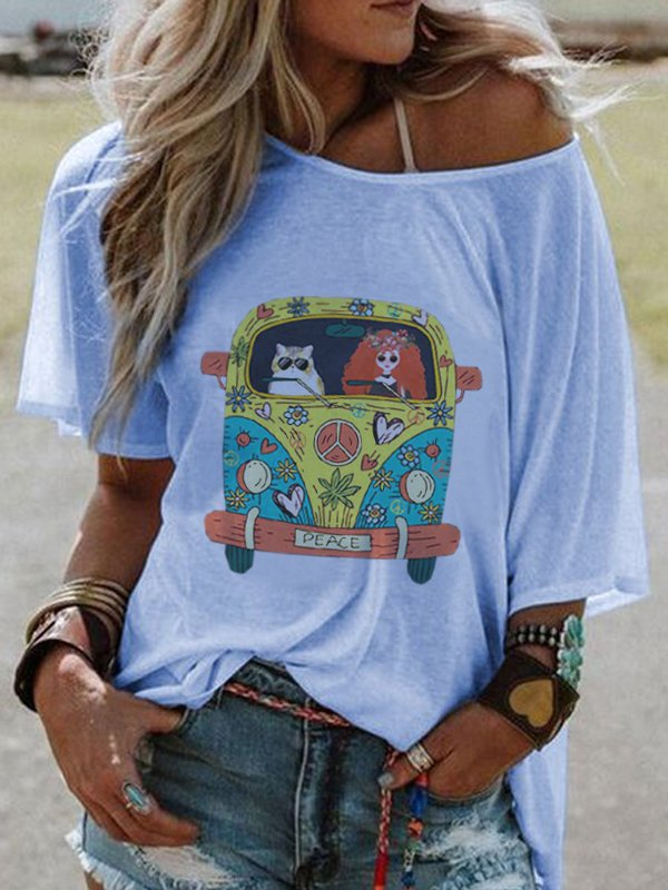Crew Neck Short Sleeve Cartoon Car Print Casual Top