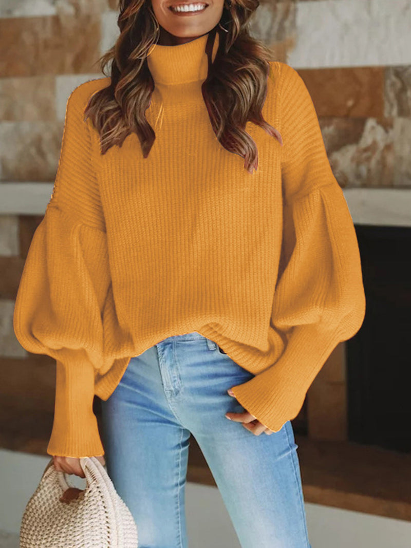 Turtle Neck Balloon Sleeve Knitted Solid Elegant Sweater