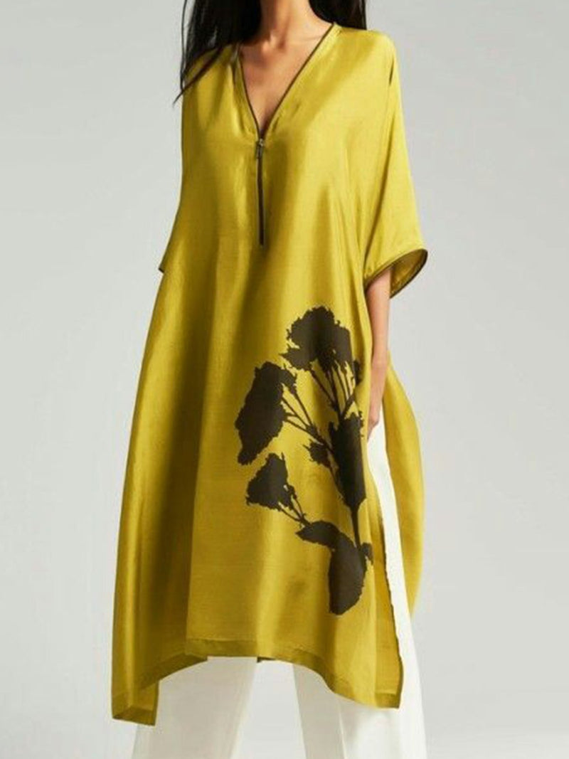 V Neck Yellow Women Dresses Daily Floral Dress