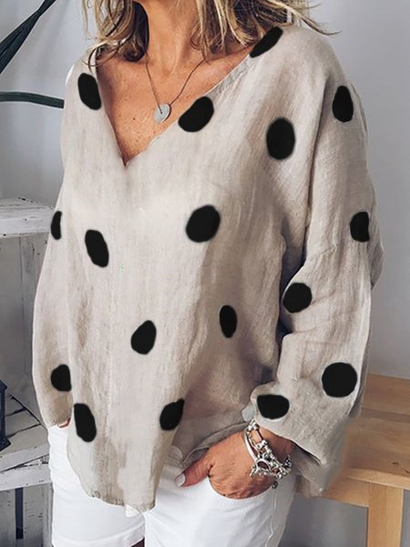 Casual V-neck Long Sleeve Polka Dots Blouse