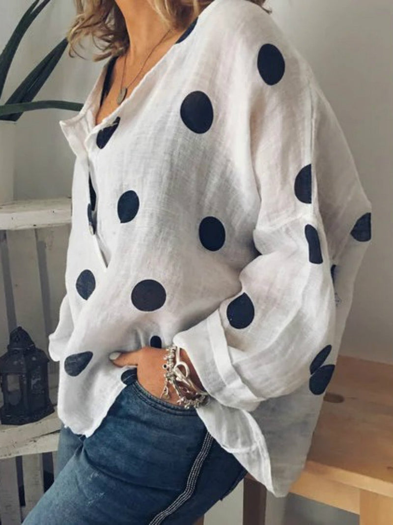 Polka Dots Floral-Print Long Sleeve Cotton Shirts & Tops