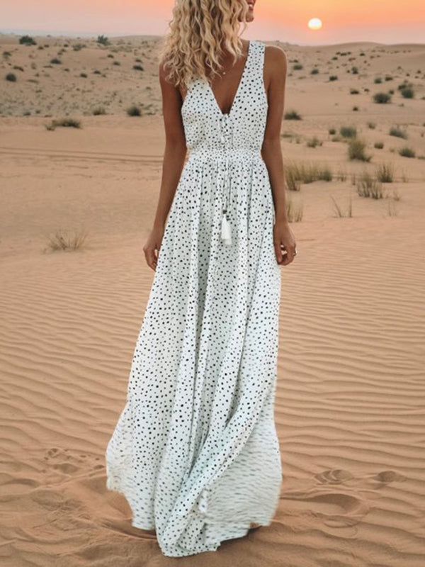 Maxi White Dress Swing Printed Sleeveless Solid Dress