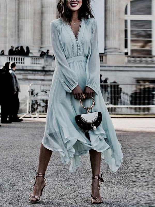 Light Blue Buttoned Casual Long Sleeve Dress
