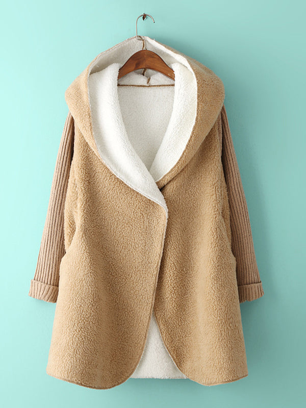 Long Sleeve Knitted Paneled Casual Hoodie Coat