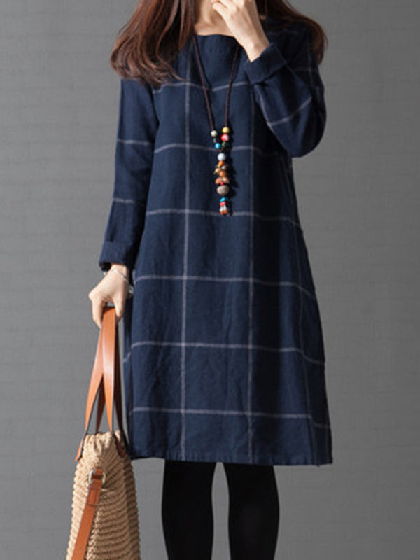 Simple & Basic Long Sleeve Crew Neck Dress