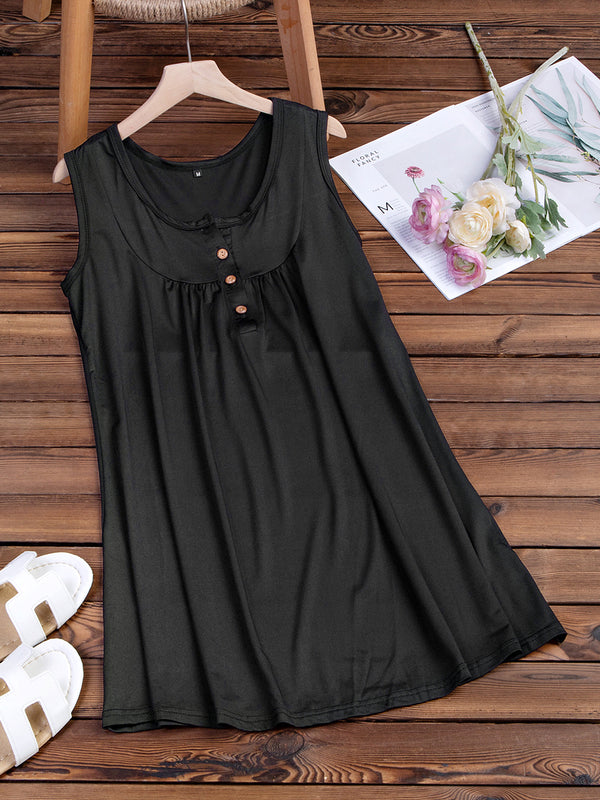 Crew Neck Women Summer Dresses Shift Beach Casual Buttoned Dress
