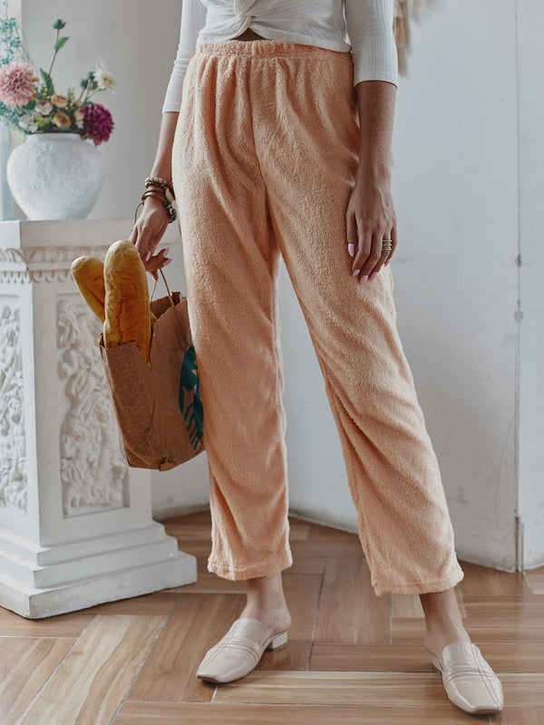 Faux Fur Casual Solid Pants