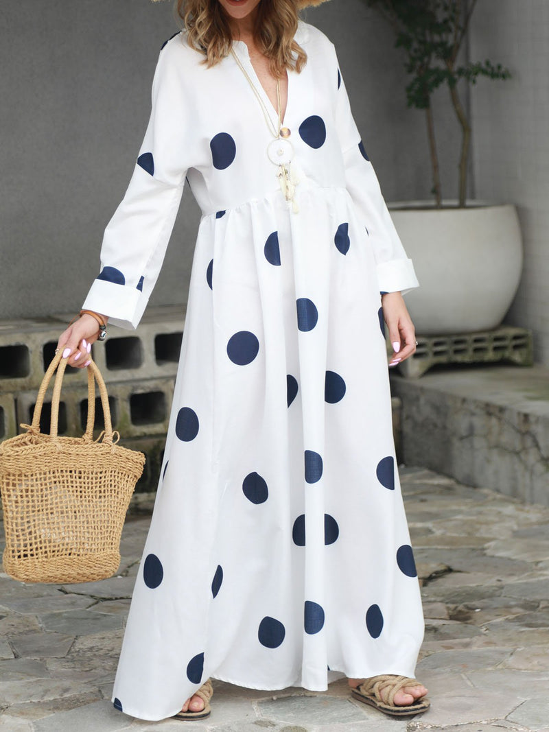 Women Polka Dots Maxi Dresses Shift Daily Boho Printed Dress