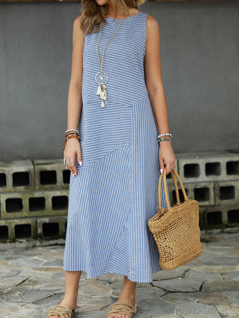 Women Summer Linen Dress Plus Size Striped  White Dresses Crew Neck