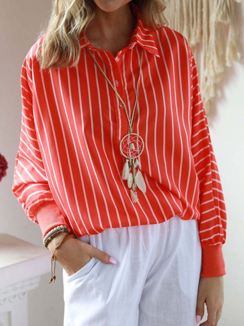 Stripes V Neck Casual Long Sleeve Blouse