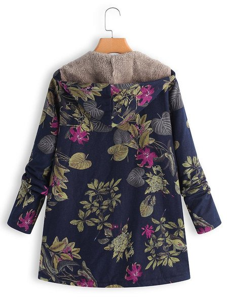 Floral Printed Hoodie Long Sleeve Casual Parka Coat