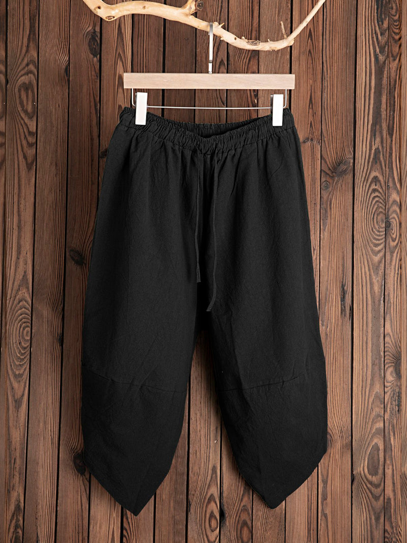 Solid Pockets Casual Pants