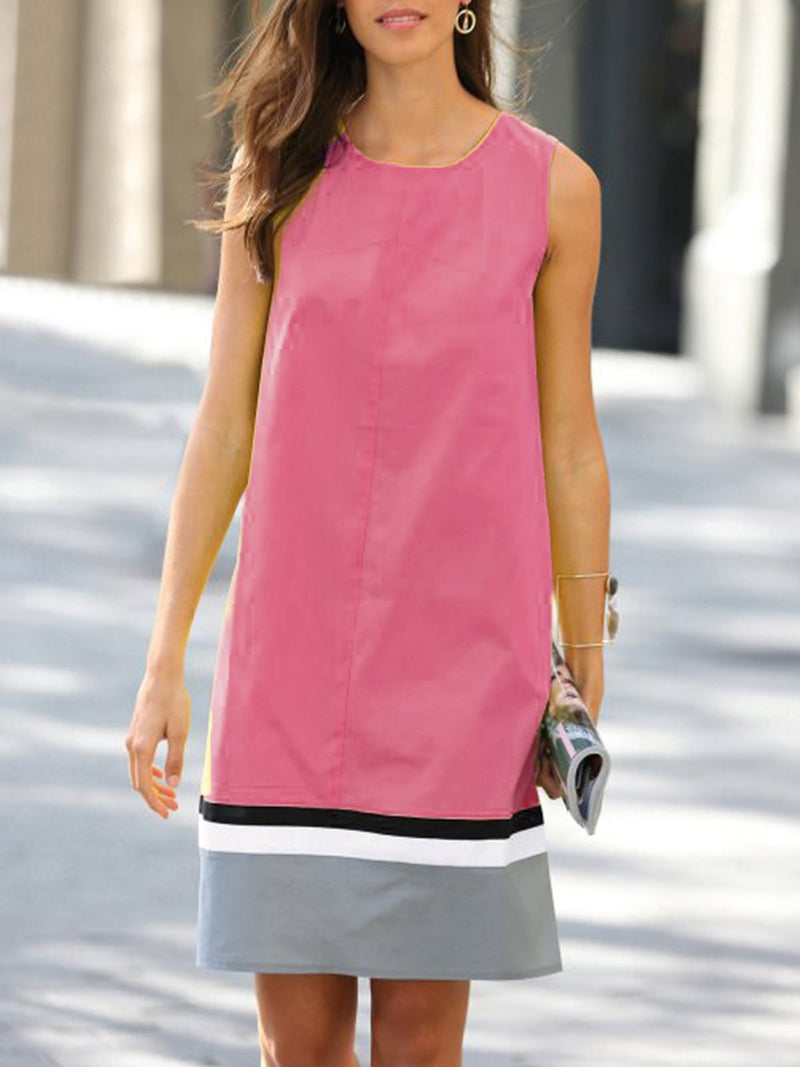 Women Round Neck Casual Color-block Sleeveless Dresses