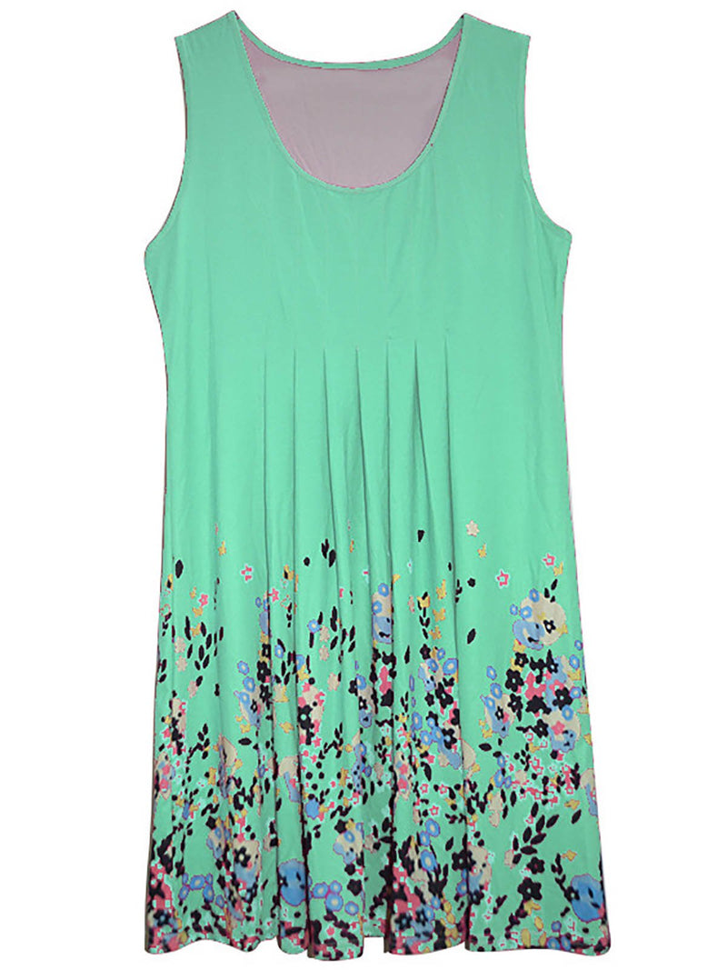 Women Sleeveless Casual Painted Cotton-Blend Summer Dress