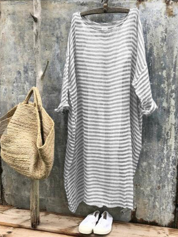 Simple & Basic Plus Size Long Sleeve Linen Dress