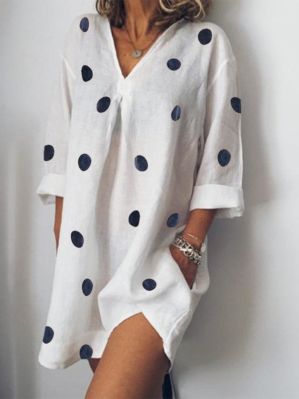 Women Summer Casual Polka Dots Long Sleeve V Neck Mini Dress