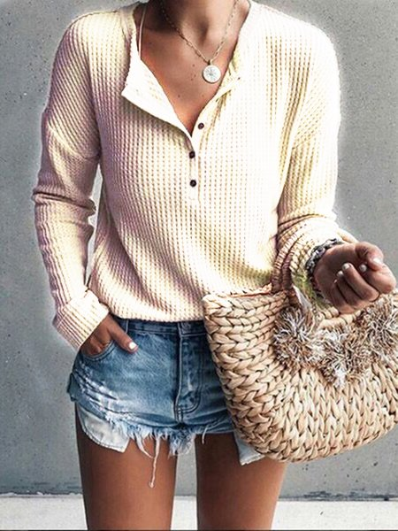 Daily Buttoned Casual Round Neck T-Shirt