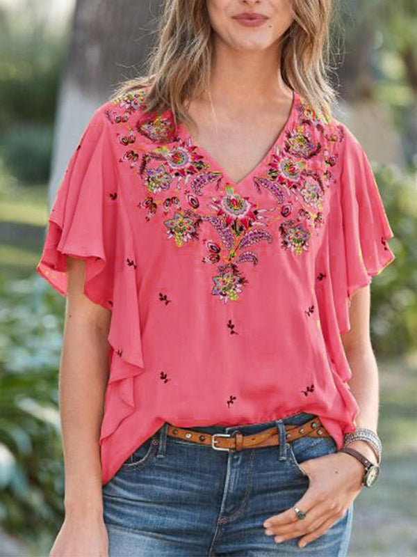 Ruffled Casual V Neck Shirt