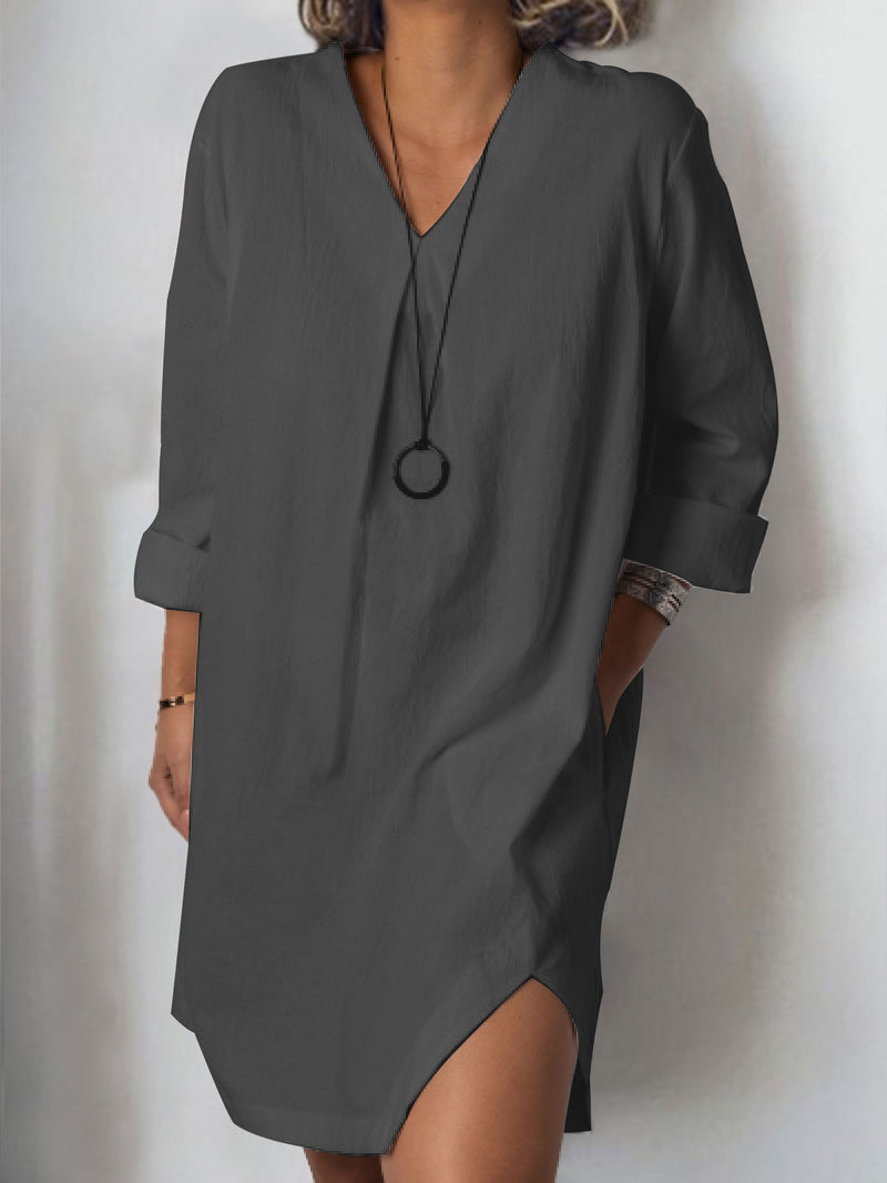 Summer White Linen Dress Plus Size Casual Solid V Neck Long Sleeve Pockets Dress